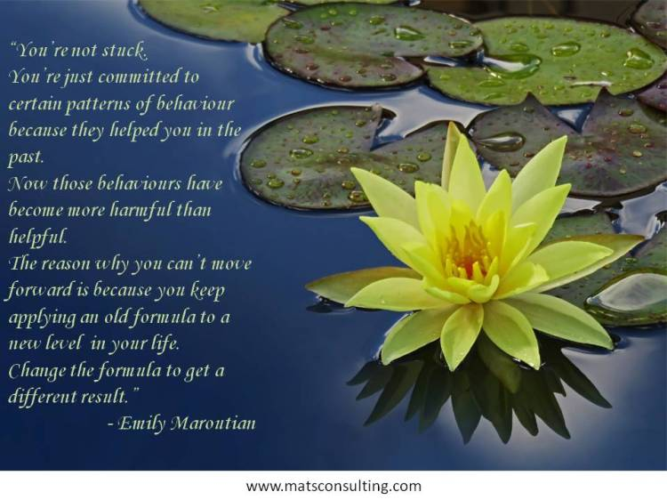You're not stuck. You're just committed to certain patterns.....